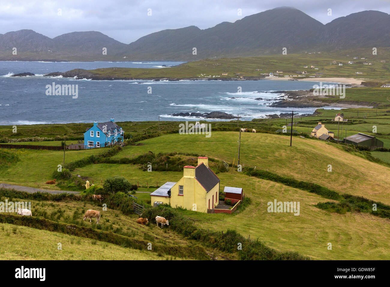 Dramatic coastline of the Beara Peninsula, on the southwest coast of the Republic of Ireland. - Stock Image