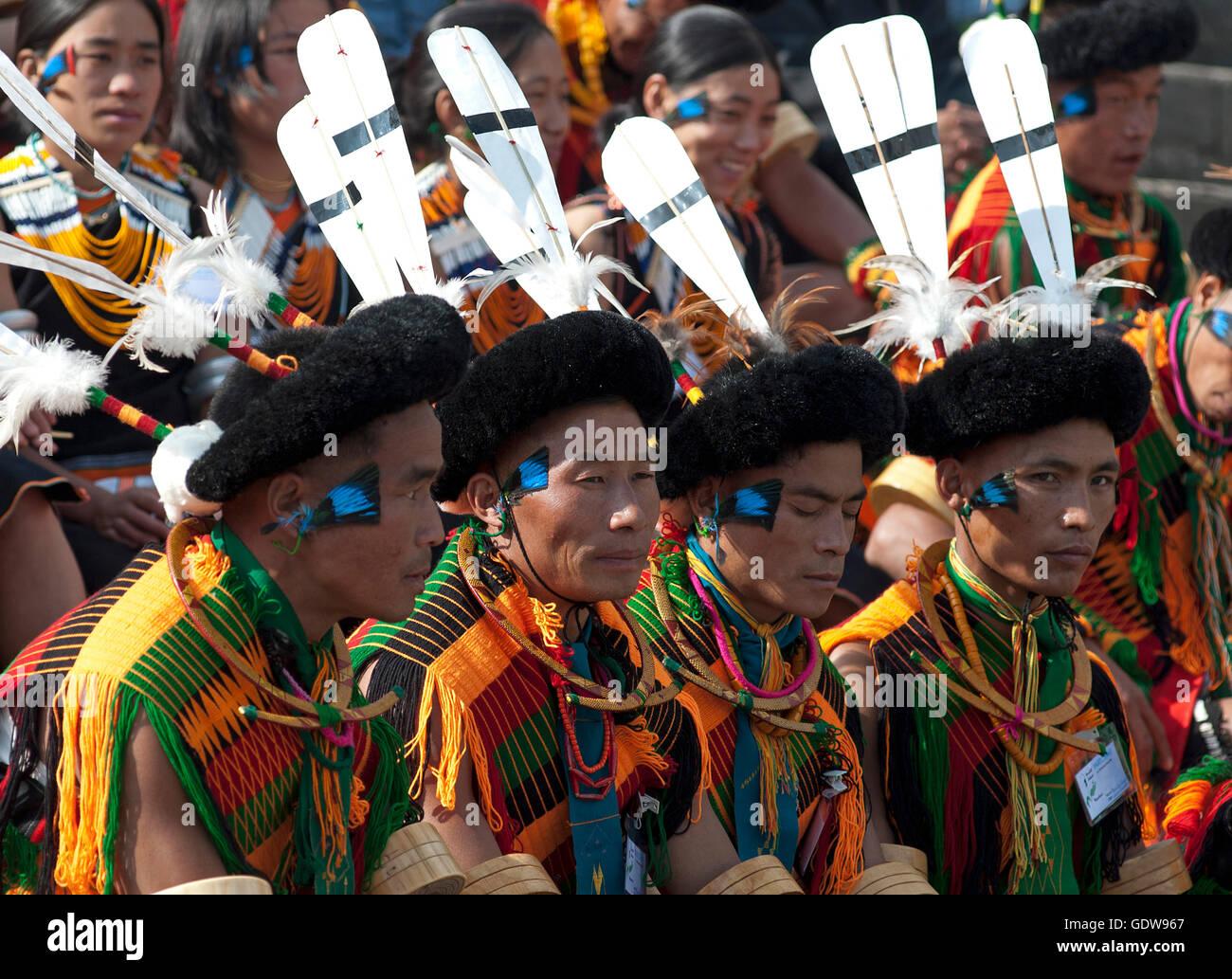 6eb563b0ea The image of Angami Naga tribe men at Hornbill festival, Nagaland, India -  Stock