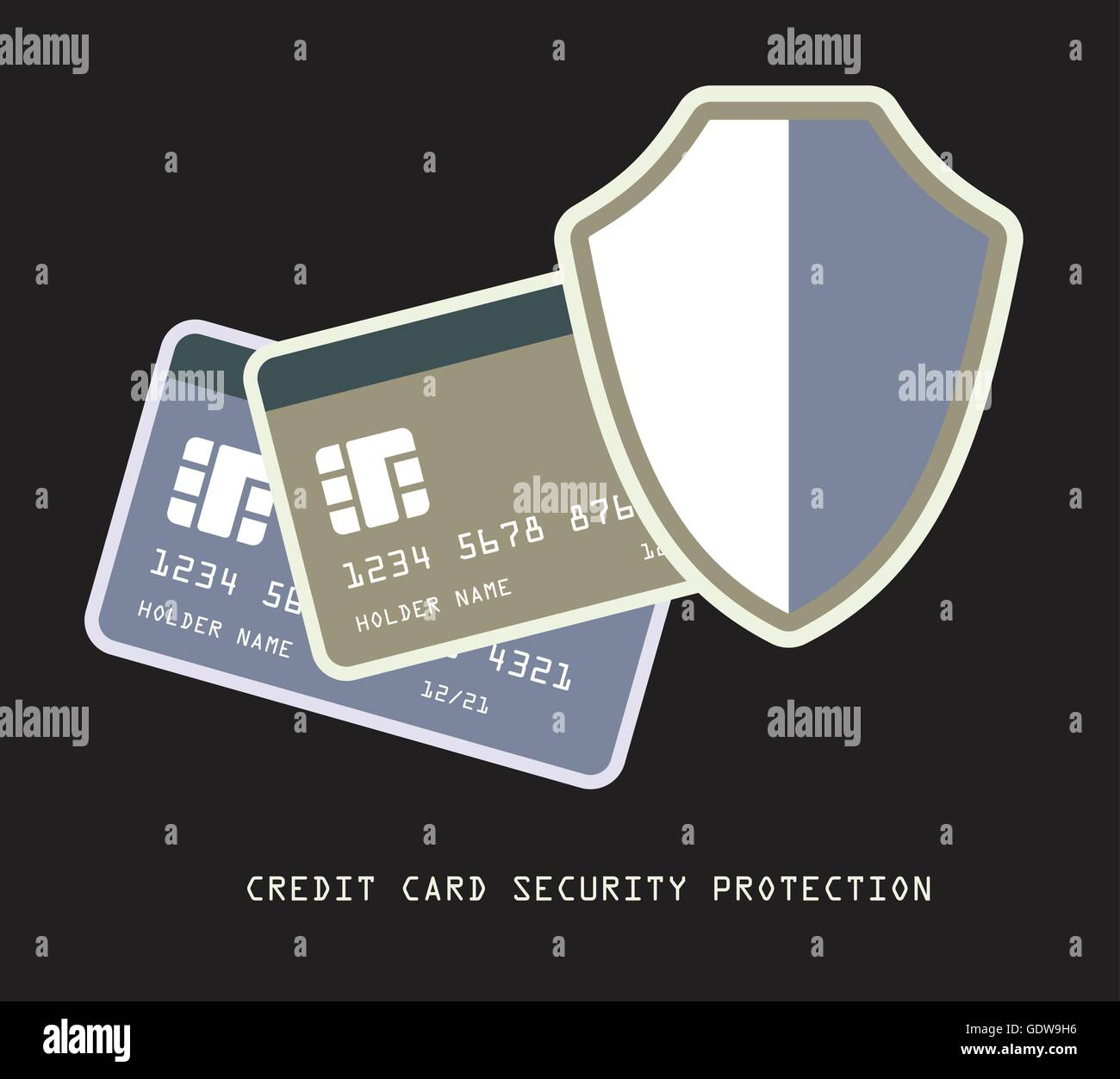 credit card modern banking security protection concept vector dark background illustration - Stock Image