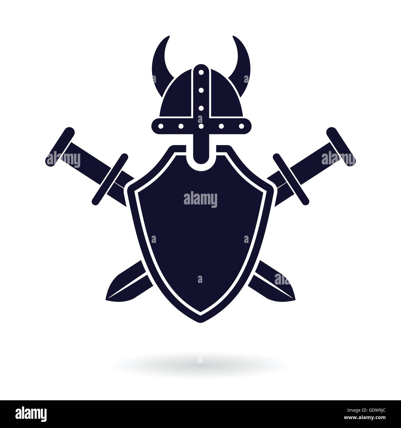 Viking Shield And Crossed Swords Security Protection Logo
