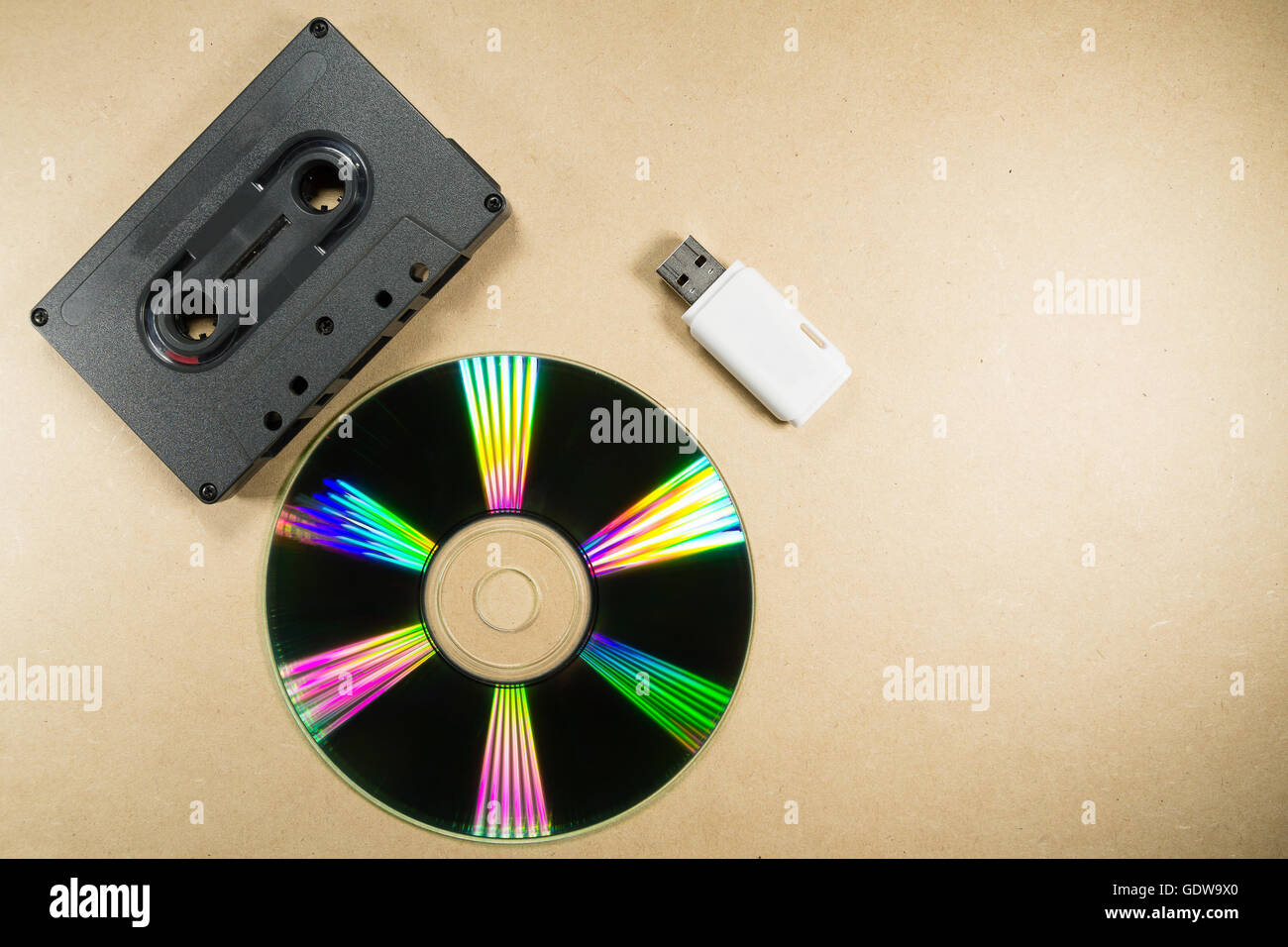 Concept of music evolution. Musicassette, cd and usb support. Vintage and modern. Supports for music - Stock Image