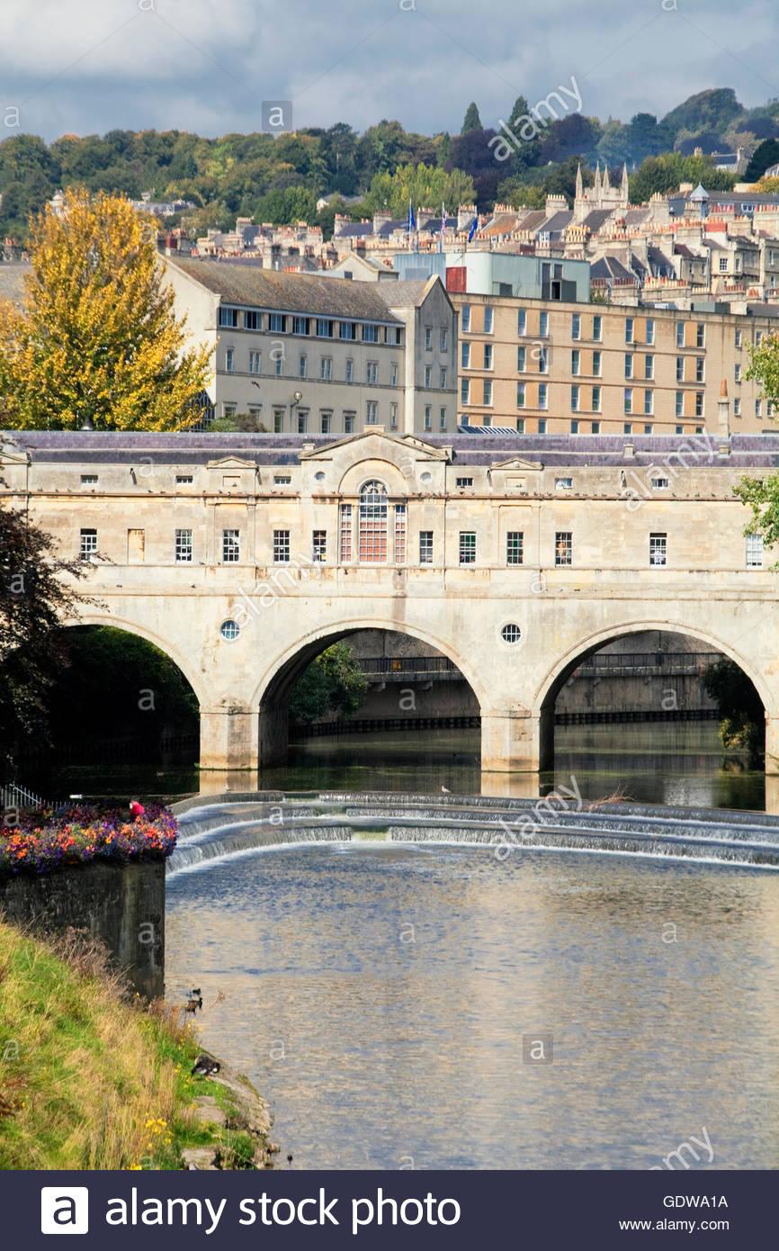 Pulteney Bridge on River Avon, Bath, Somerset, England, Great Britain, U.K - Stock Image