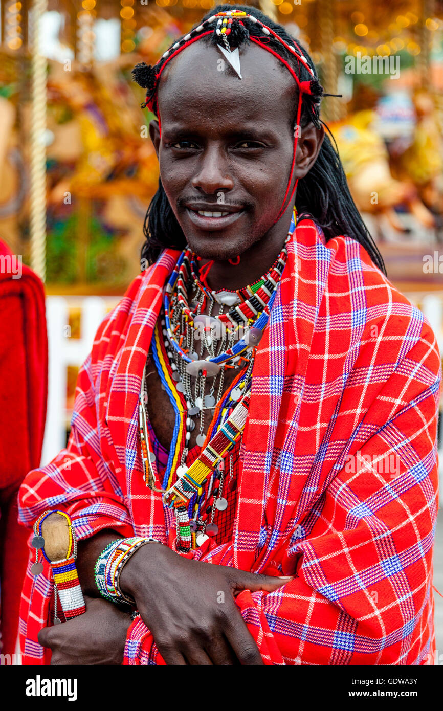 An African Man Dressed In Traditional Costume On Hastings Pier During The Annual Pirate Day Festival, Hastings, Stock Photo