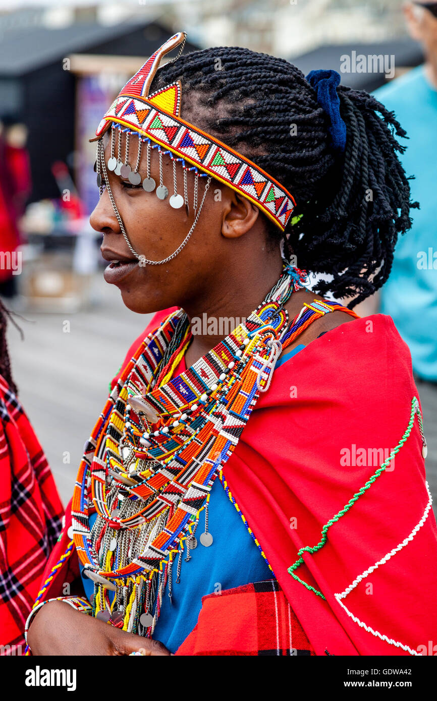 An African Woman Dressed In Traditional Costume On Hastings Pier During The Annual Pirate Day Festival, Hastings, Stock Photo
