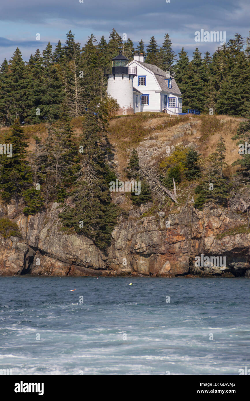Bear Island Lighthouse, on a small island just south of Mount Desert Island, was established in 1839, & was - Stock Image