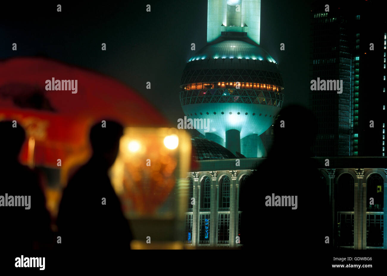 the skyline of Pudong in the City of Shanghai in china in east asia. Stock Photo