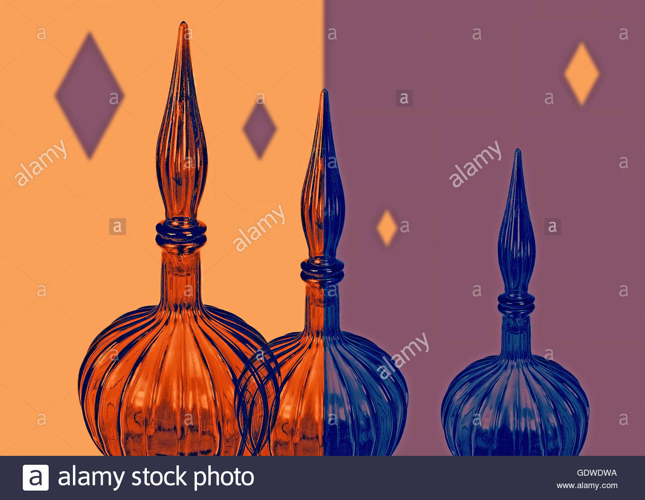 Retro vintage glass vases eastern ornamental with mid century background - Stock Image