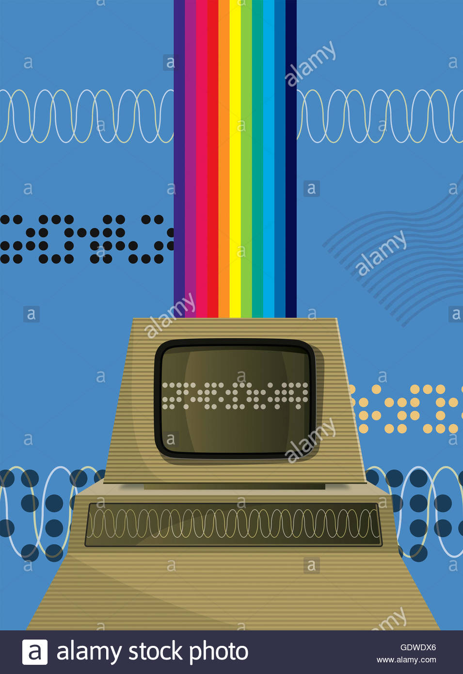 Retro personal computer with rainbow - Stock Image