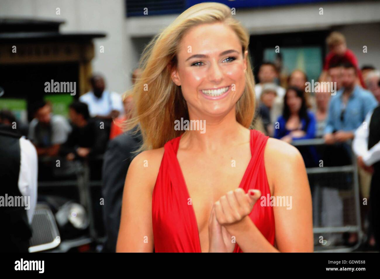 Kimberley Garner/Made in Chelsea star, attends the London film premiere of Meet the Millers. - Stock Image