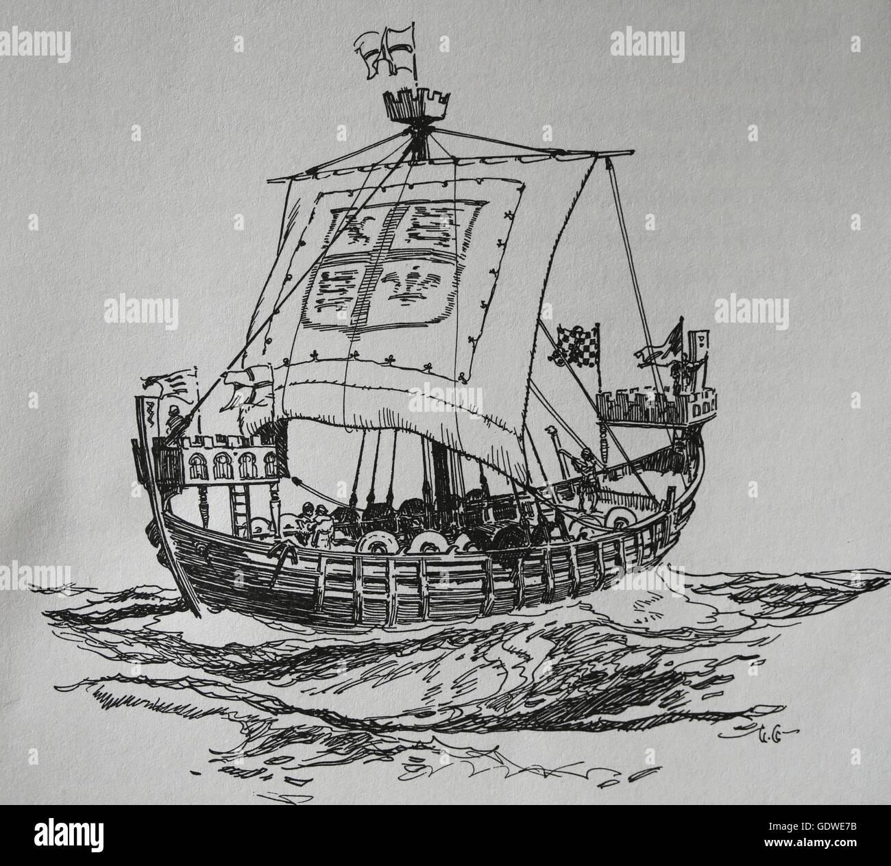 English warship. 13th century. Engraving. - Stock Image