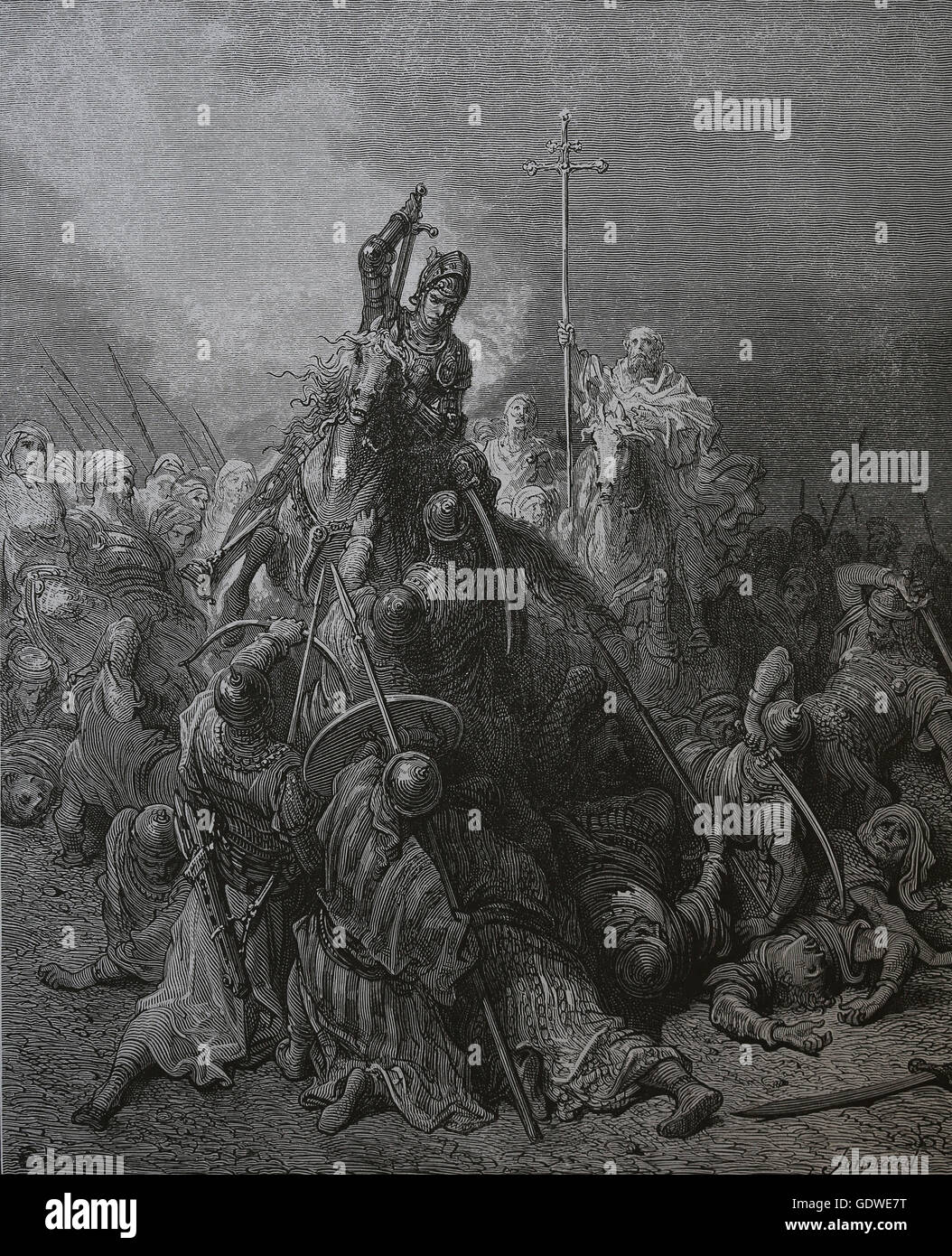 First Crusade. Siege of Antioch. 1097-1098. Battle of Antioch. Engraving by  Gustave Dore. 19th century.