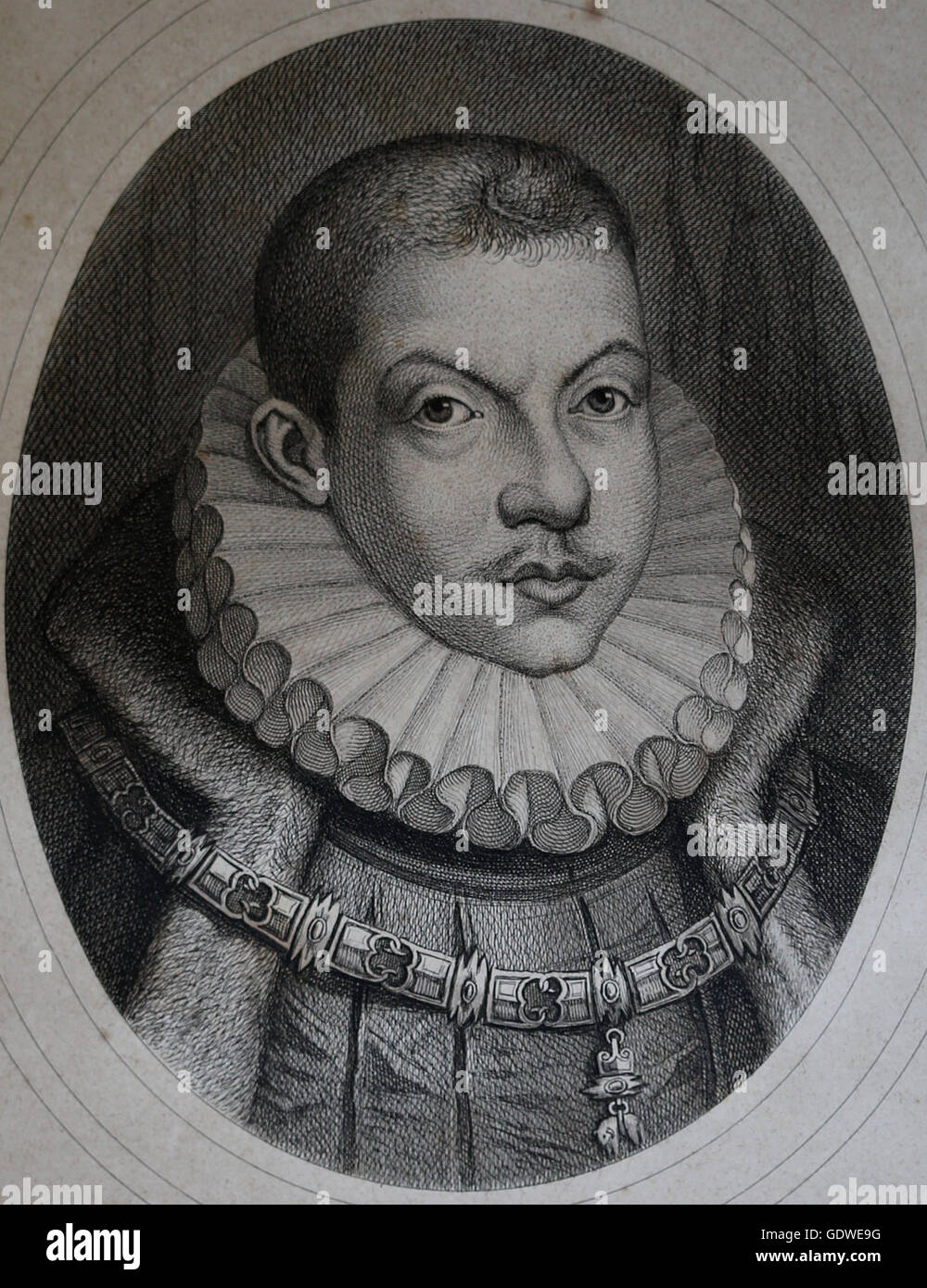 Philip III of Spain (1578-1621). King of Spain and Portugal. House of Habsburg. Portrait. Engraving, 19th century. - Stock Image