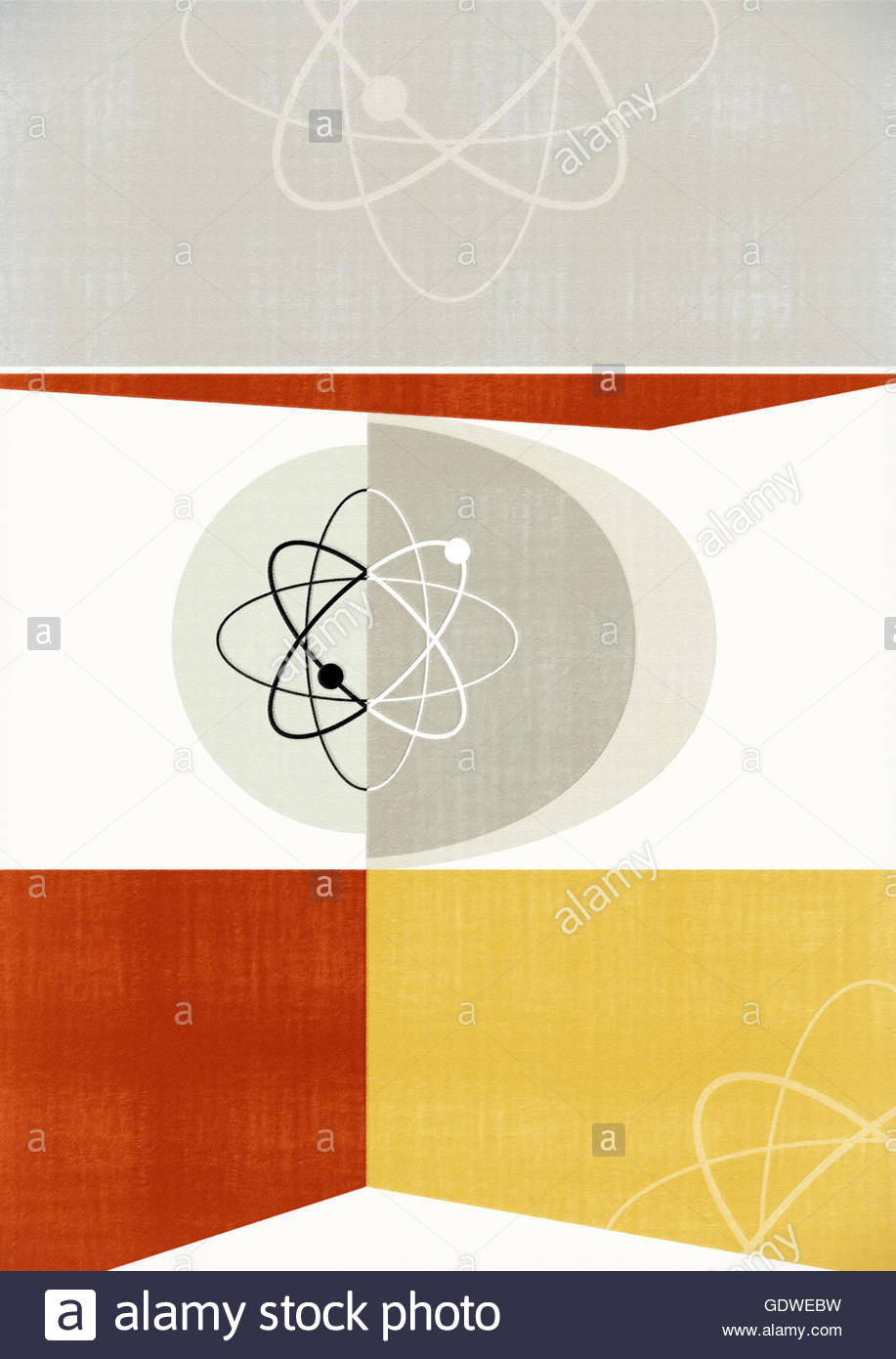 Atomic mid century vintage etro geometric background - Stock Image