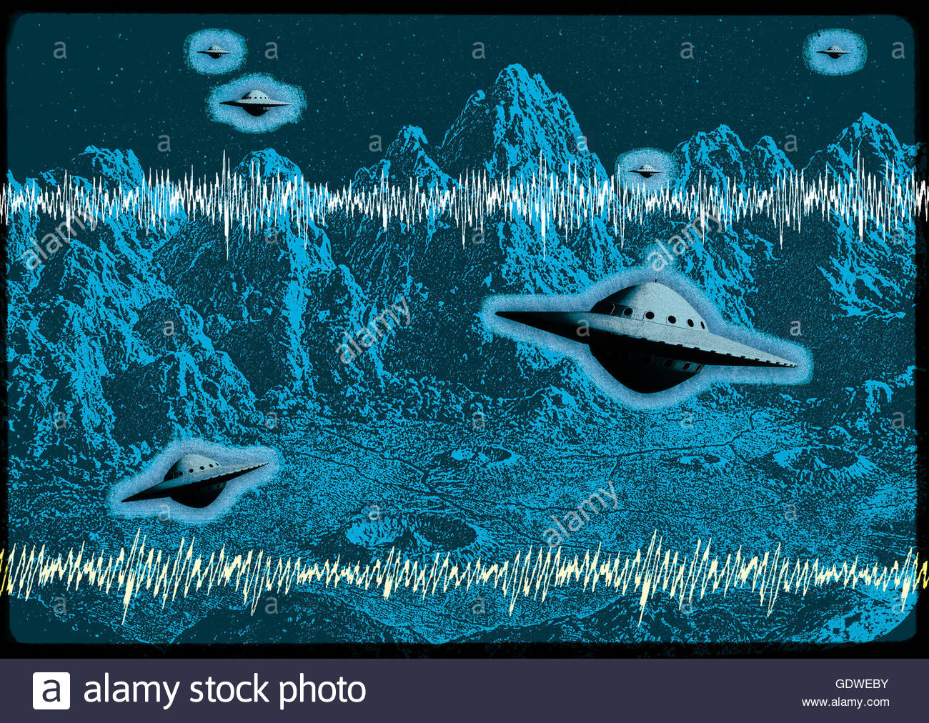 Retro UFO flying saucer mid century atomic retro space age Stock Photo