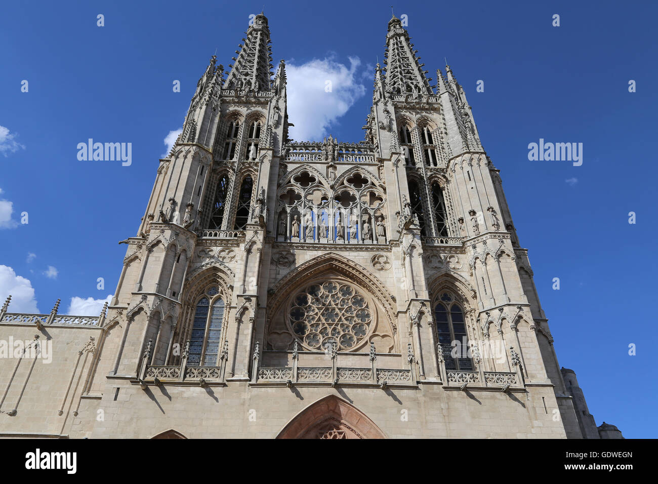 Spain. Burgos. Cathedral of Saint Mary. Gothic style. Facade of Saint Mary. - Stock Image