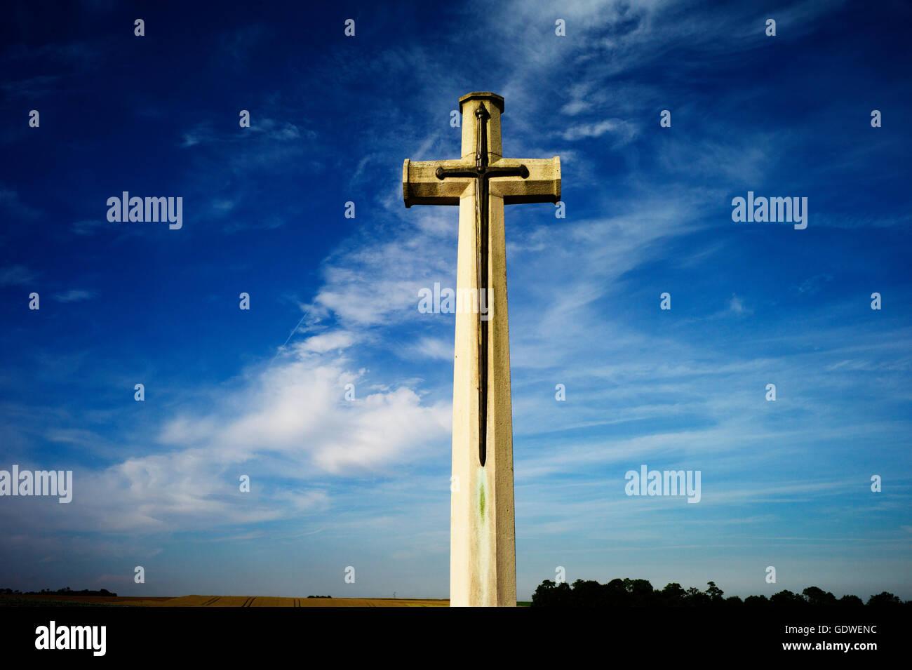 Somme Battlefield, France. Somme WW1 Battlefield, July 1st-November 1916, France. July 2016 Cross of Sacrifice,Rancourt - Stock Image