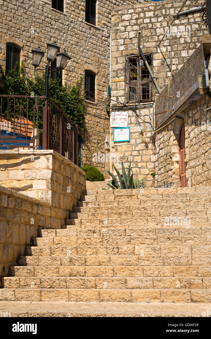 Israel Safed Zefat Tsefat Tsfat highest city in Israel holy site centre of Jewish Mysticism Kabbala since 1600 & Stock Photo