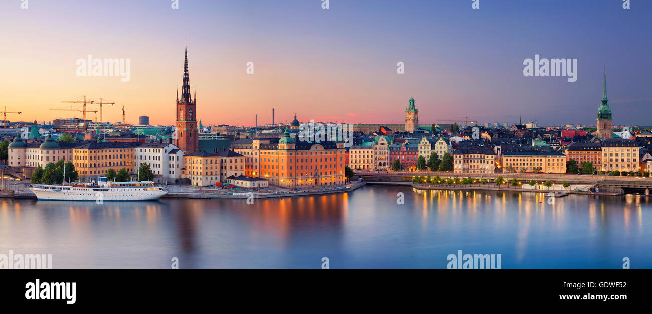 Stockholm. Panoramic image of Stockholm, Sweden during sunset. - Stock Image