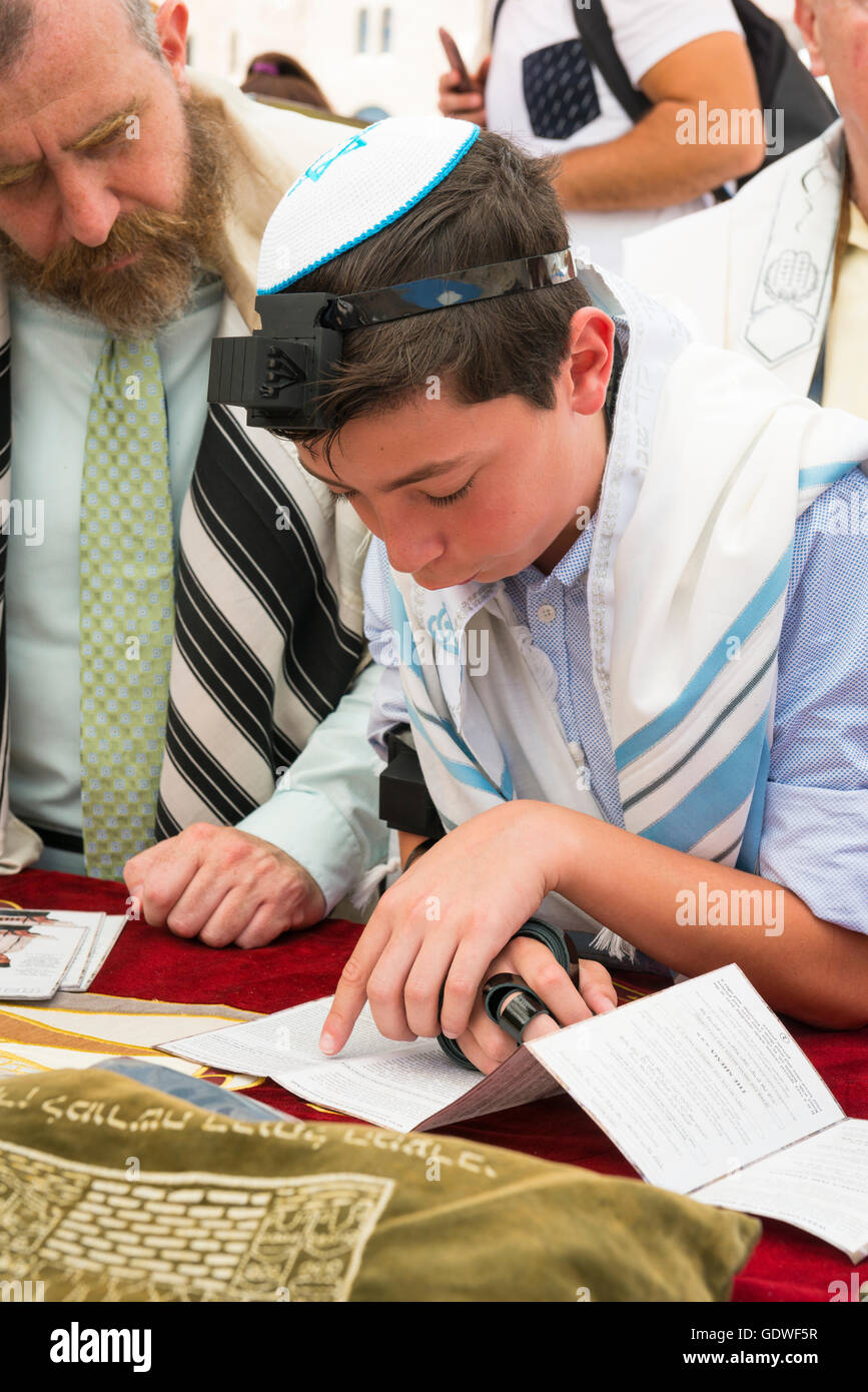 Israel Jerusalem Old City young boy in Tallit prayer shawl & Tefillin phylacteries Bar Mitzvah Barmitzvah by - Stock Image
