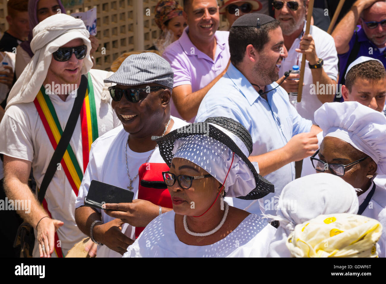 Israel Jerusalem Old City black African Americans mingle enjoying Bar Mitzvah Barmitzvah road street parade - Stock Image