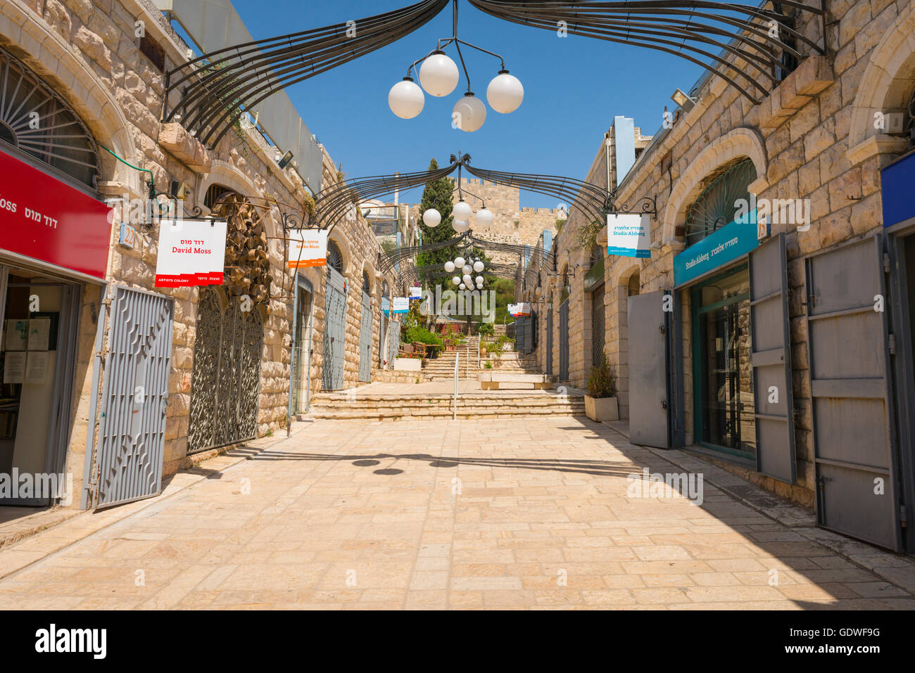 Israel Jerusalem Modern City Artists Colony street - James Felt Lane - galleries studios & workshops of artists - Stock Image