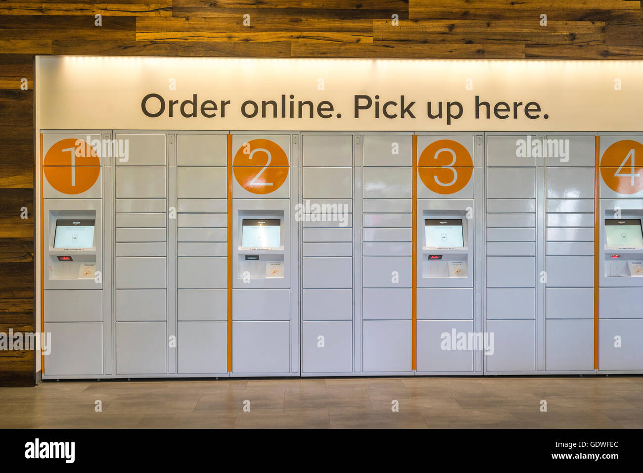 Amazon Lockers for picking up packages ordered online - Stock Image