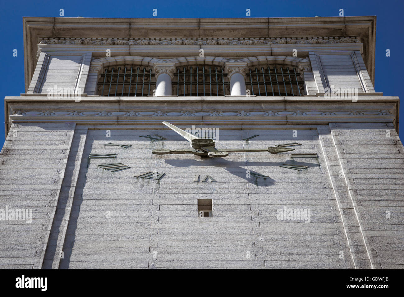 Closeup of clock at top of Sather Tower campanile on University of California at Berkeley campus - Stock Image