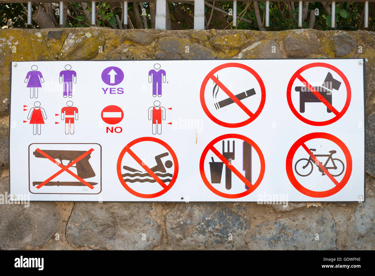 Israel Capernaum Kfar Nahum Village Sea of Galilee home Peter the Fisherman sign at entrance dress code, no swimming - Stock Image