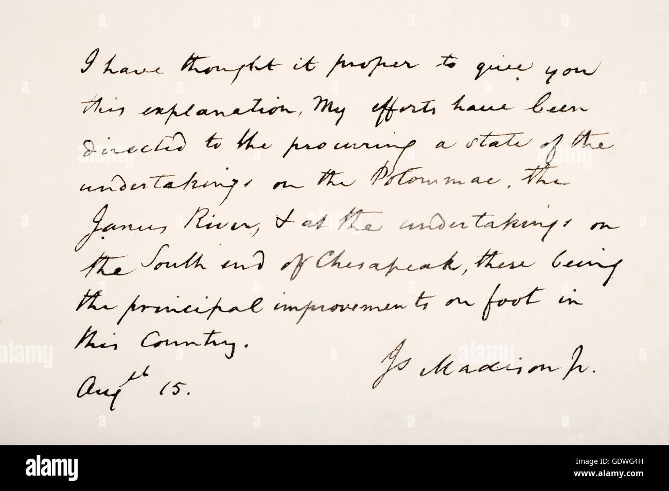 James Madison, 1751 - 1836.  Fourth president of the United States of America.  Hand writing sample. Stock Photo