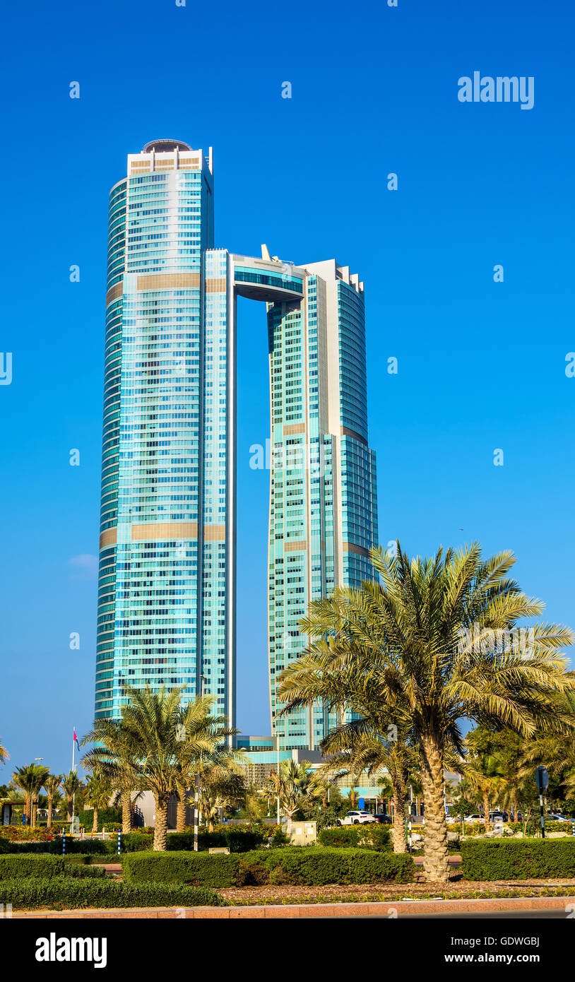 ABU DHABI, UAE - DECEMBER 29: Nation Towers on December 29, 2015 Stock Photo