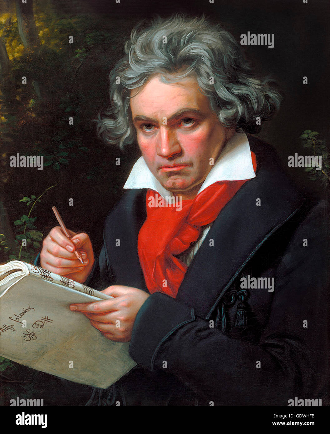 Beethoven. Portrait of the German composer Ludwig van Beethoven (1770-1827) by Joseph Karl Stieler, oil on canvas, - Stock Image