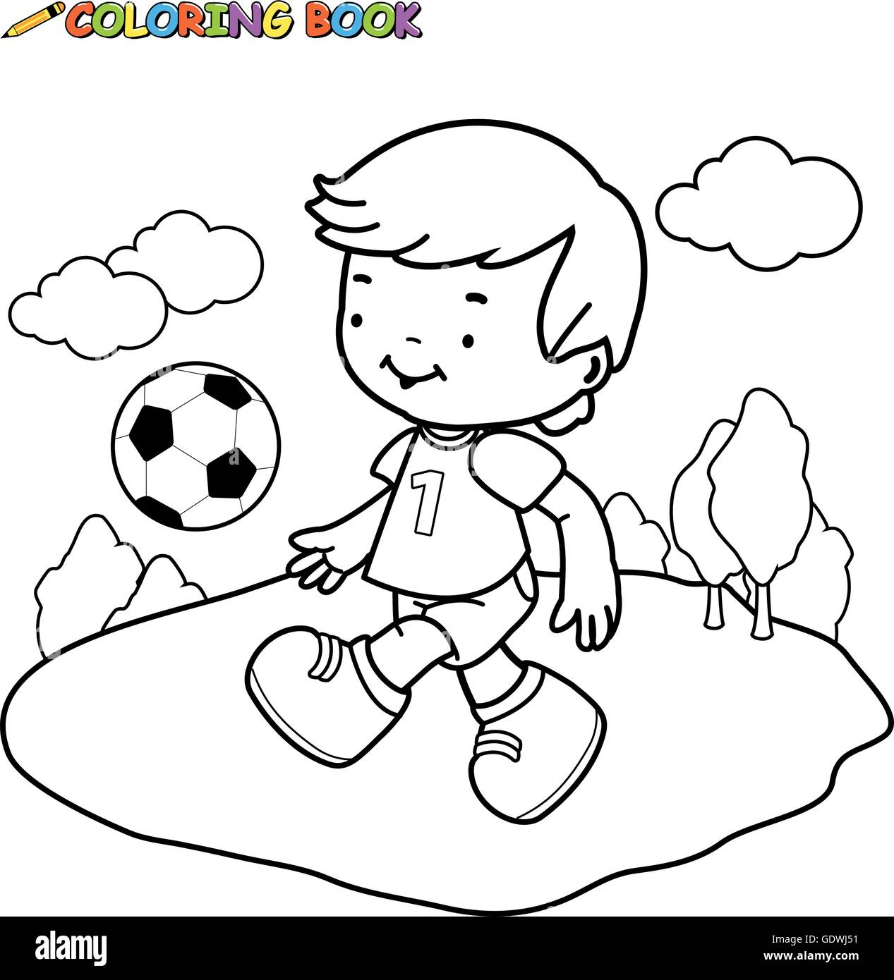 Black and white outline image of a boy playing soccer. Coloring book ...