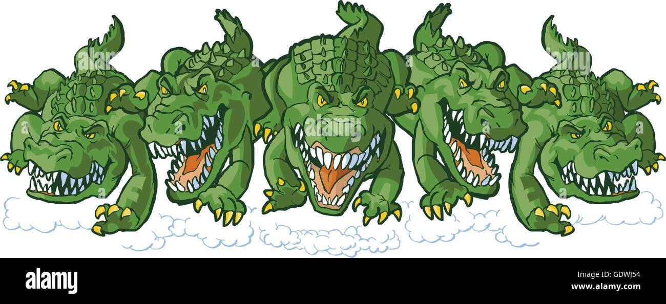 Vector cartoon clip art illustration of a group of tough mean alligator mascots charging or running forward. - Stock Image