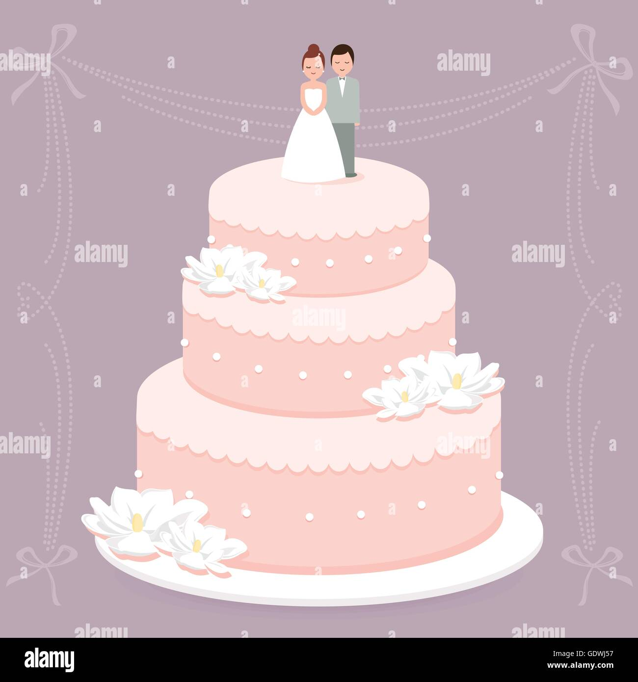 Bride And Groom Cake Topper Stock Vector Images - Alamy