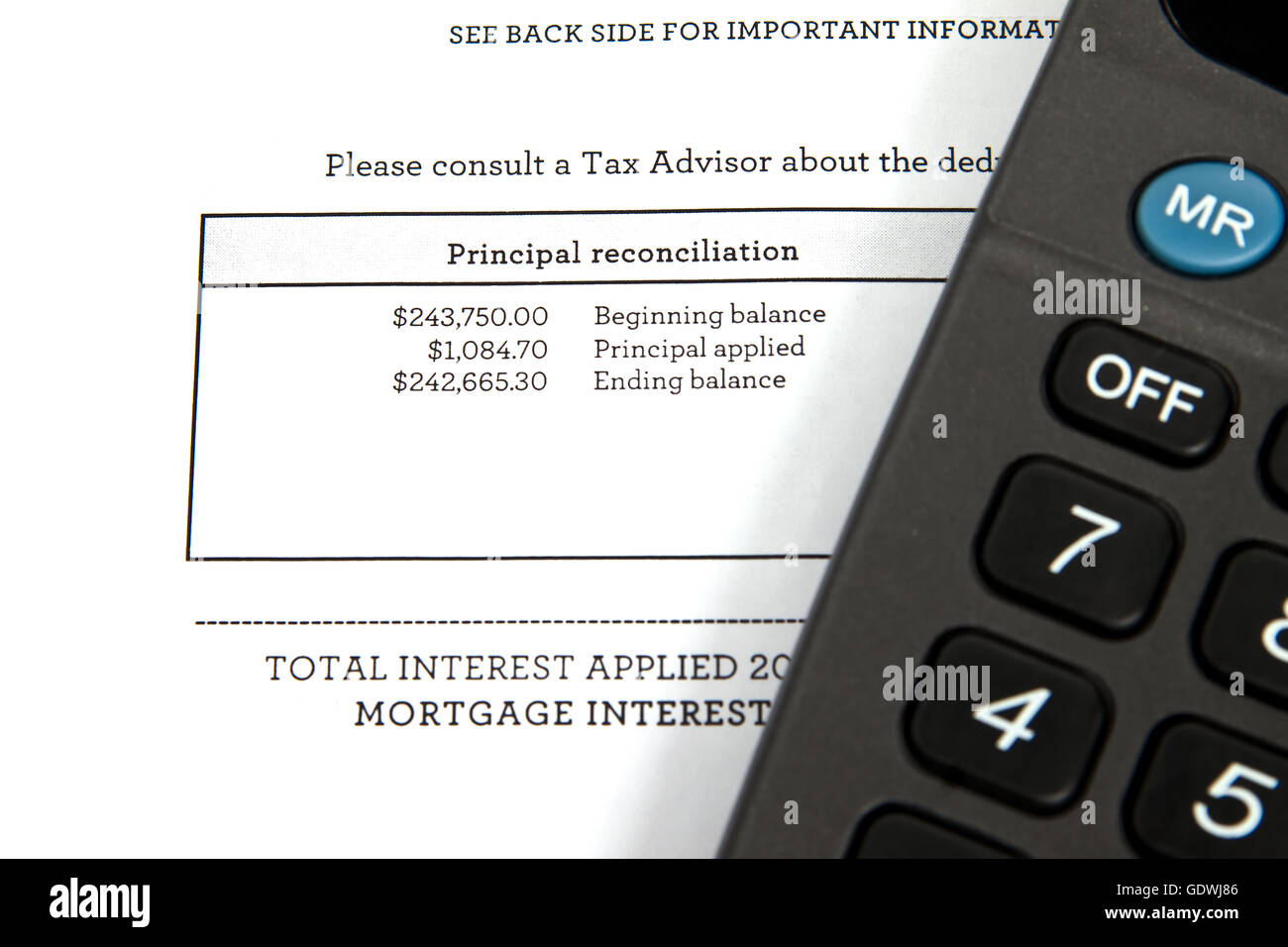 Tax document showing mortgage balance - Stock Image
