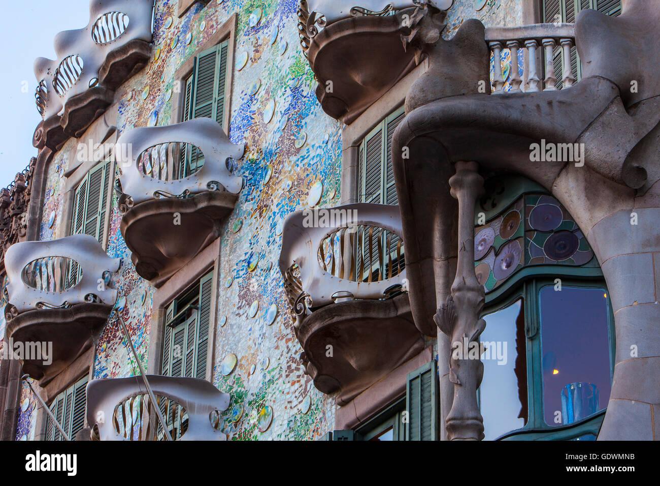 Casa Batllo (Batllo House) by Antonio Gaudi, Barcelona, Spain - Stock Image