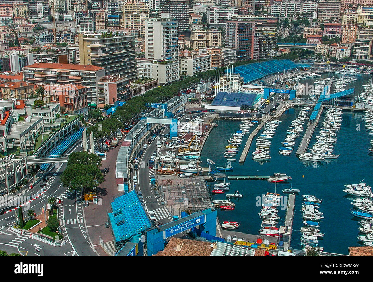 formula 1 track and yacht harbour of Monte Carlo, Monaco - Stock Image