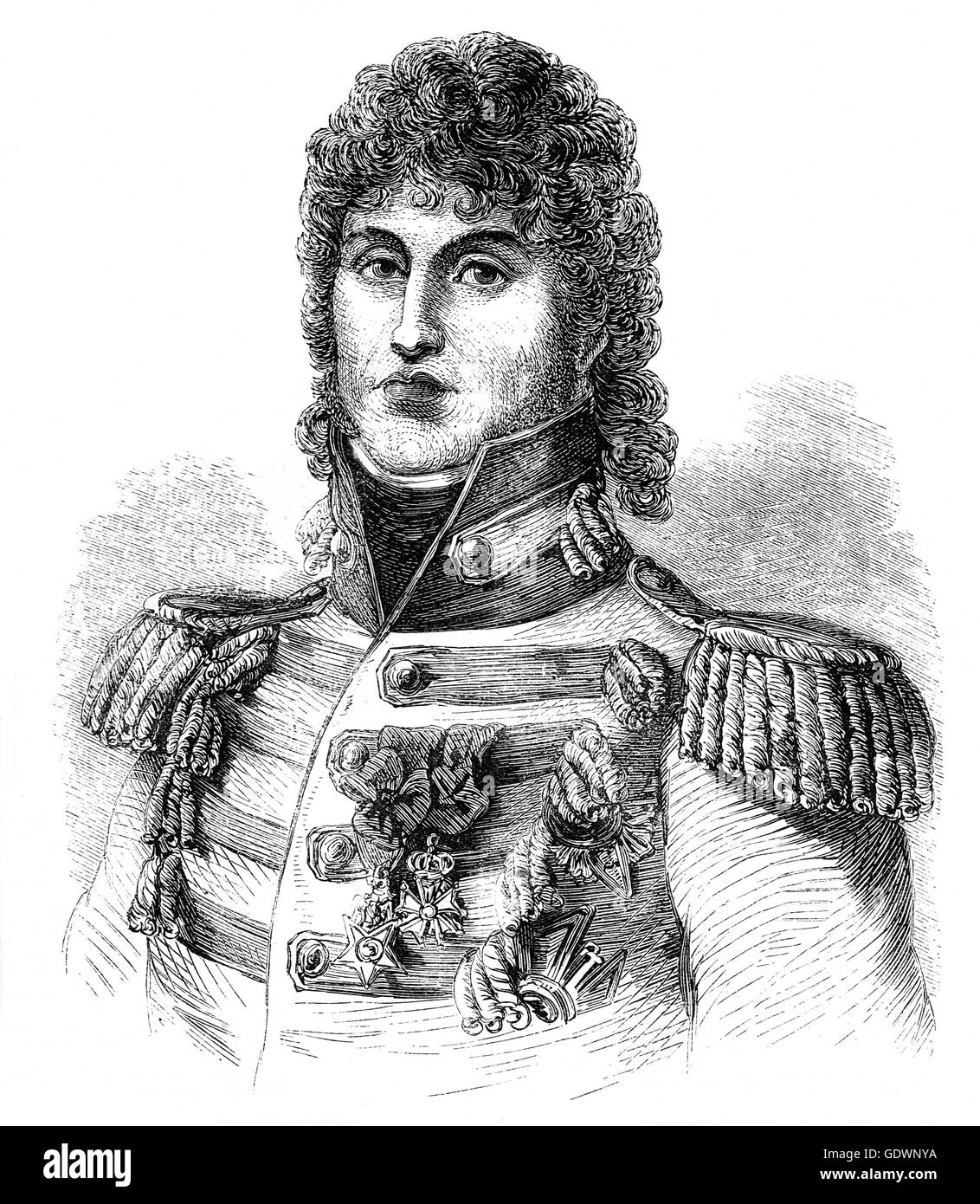 General Joachim-Napoléon Murat (1767 – 1815) was a Marshal of France and Admiral of France under the reign - Stock Image