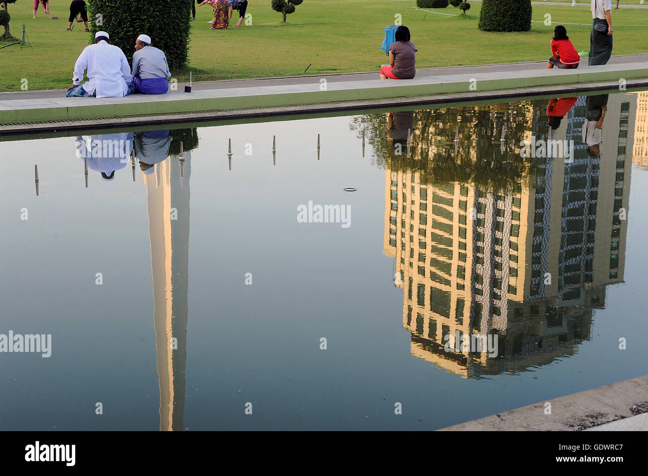 Reflexion of a monument - Stock Image