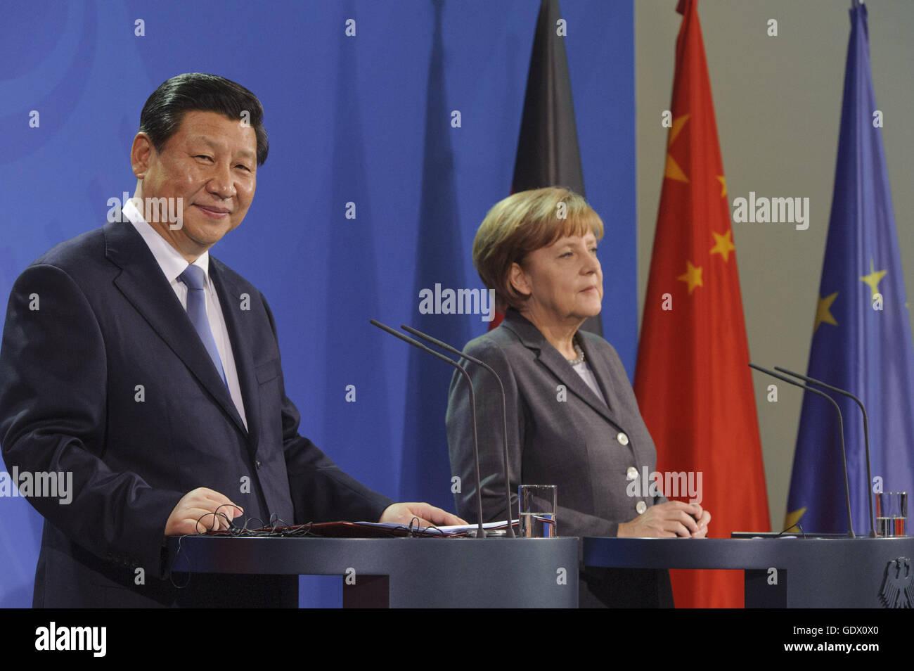 Xi and Merkel - Stock Image