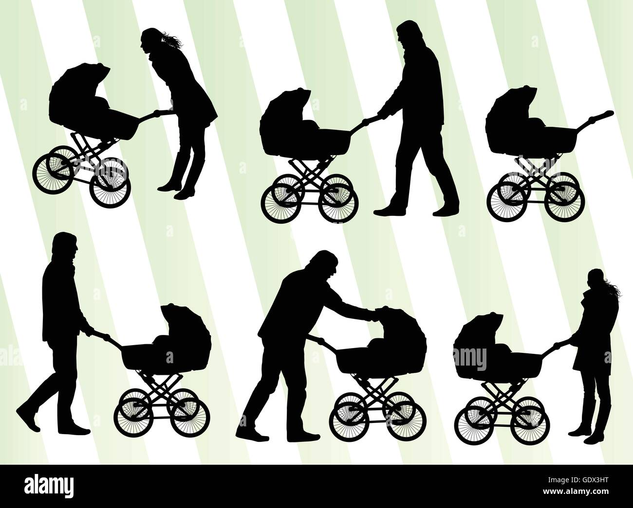 Mother with baby pram vector background set for poster - Stock Vector