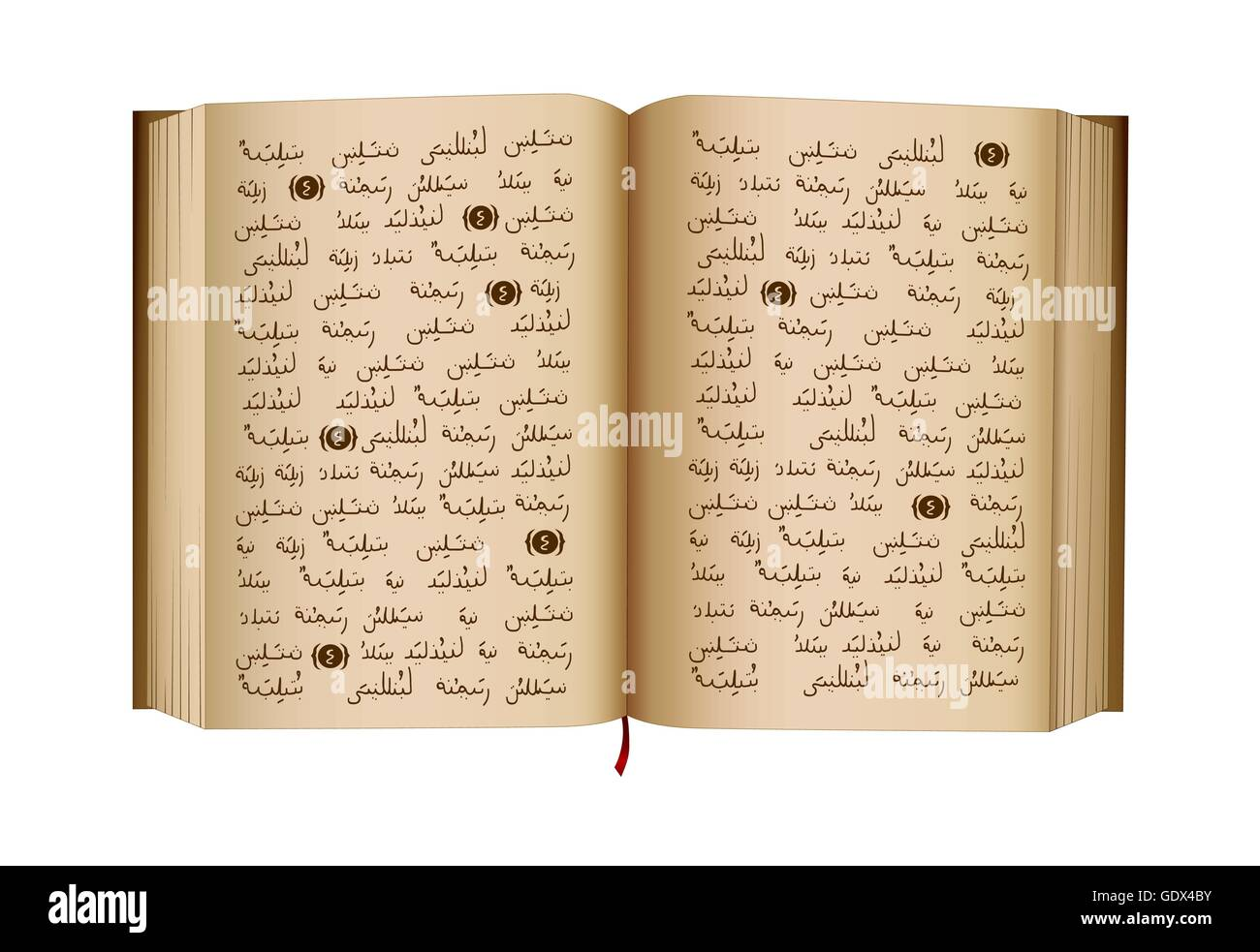 Quran - is a Holy Book of Islamic religion. Islamic scripture. Open book. Isolated illustration. Vector. NOTE: this - Stock Image
