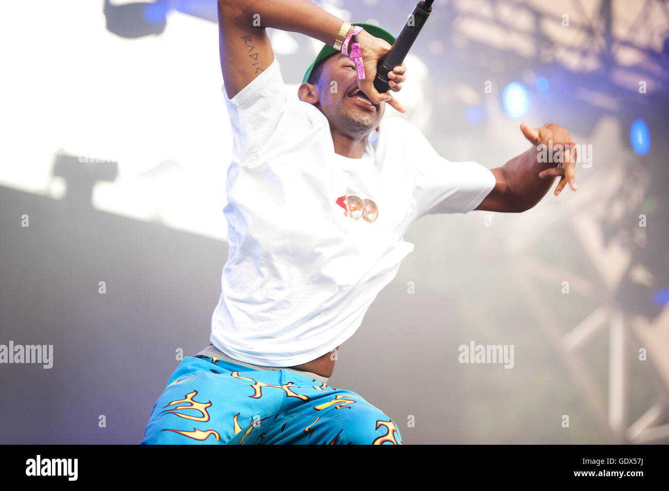 Tyler, the Creator in concert at the Pemberton Music Festival.  Pemberton BC, Canada Stock Photo