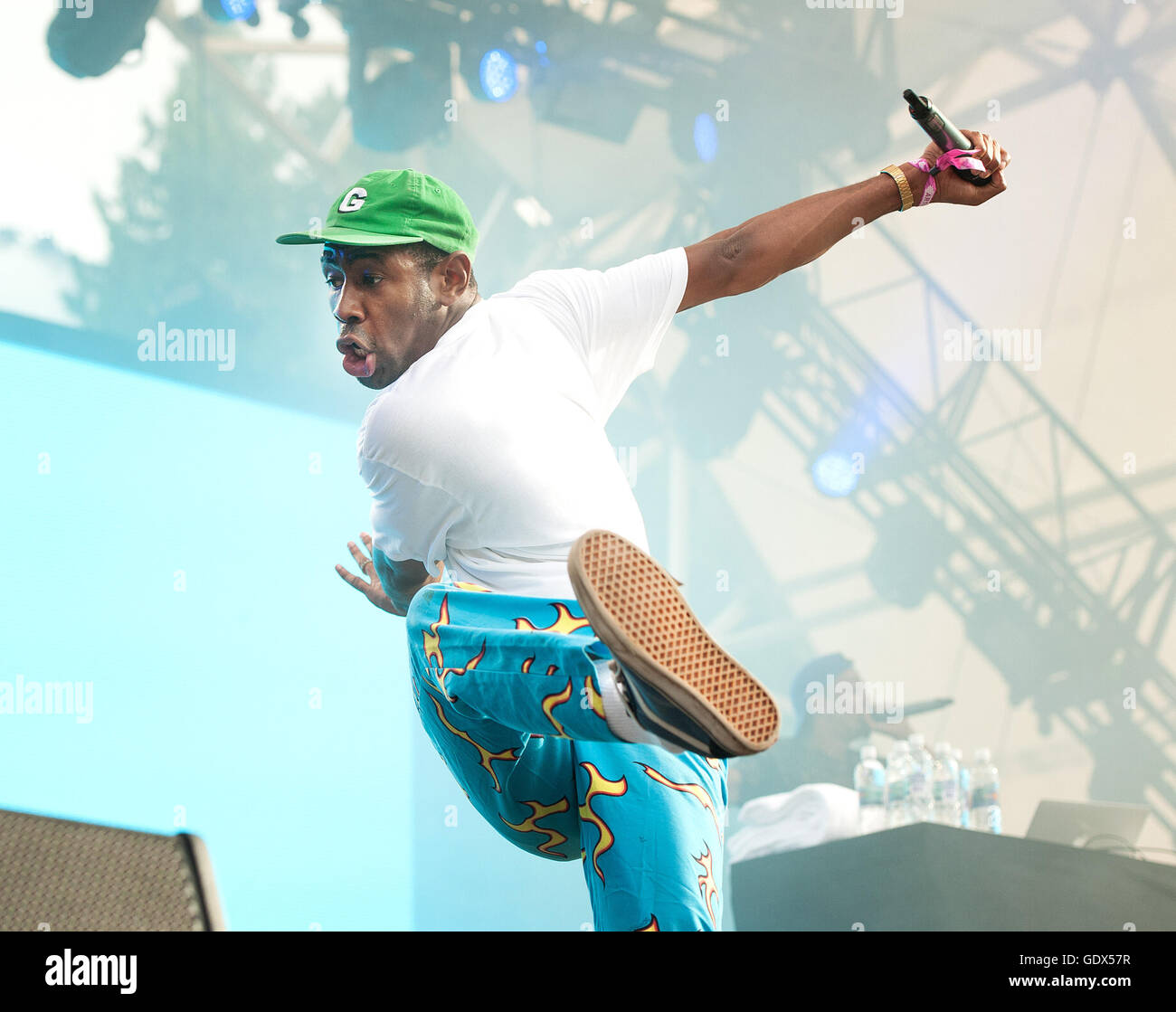 Tyler, the Creator in concert at the Pemberton Music Festival.  Rapper and hip hop dancer.  Outdoor music festival - Stock Image