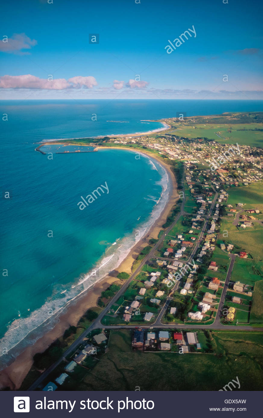 Aerial view of Apollo Bay, Great Ocean Road, Victoria, Australia, looking south-west. - Stock Image