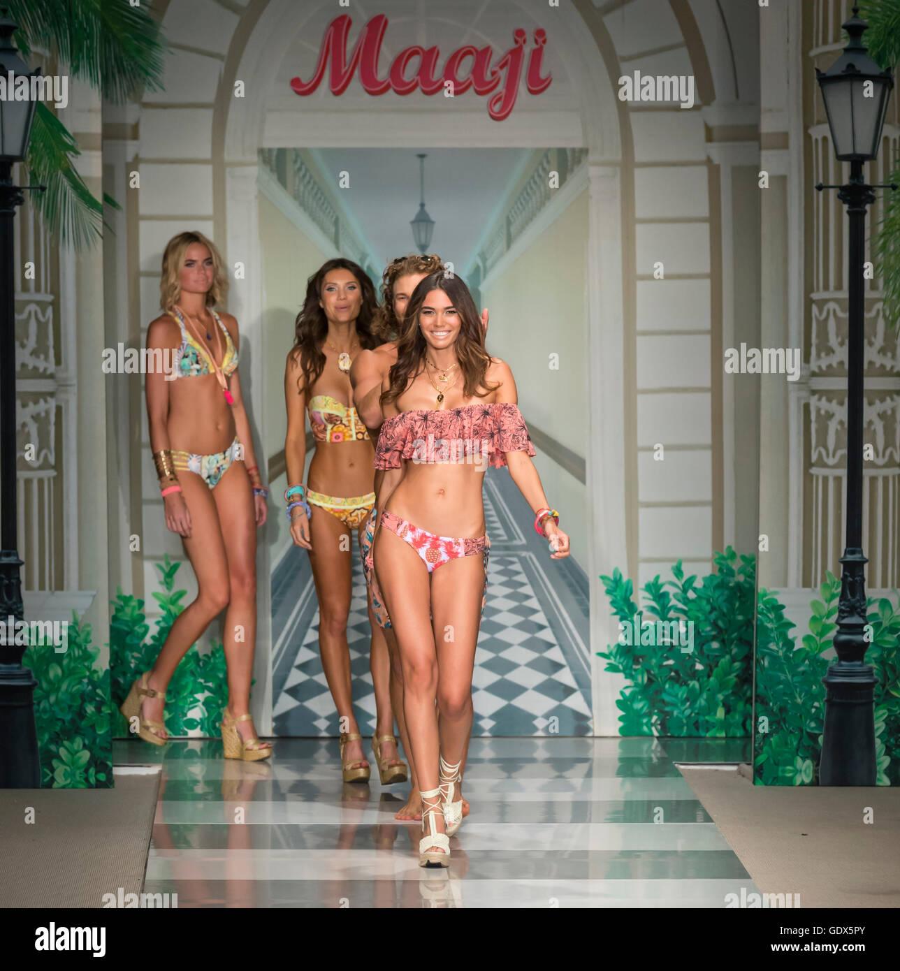 MIAMI BEACH, FL - JULY 17, 2016: Models walk the runway at the Maaji 2017 Collection At Funkshion Swim Fashion Week - Stock Image