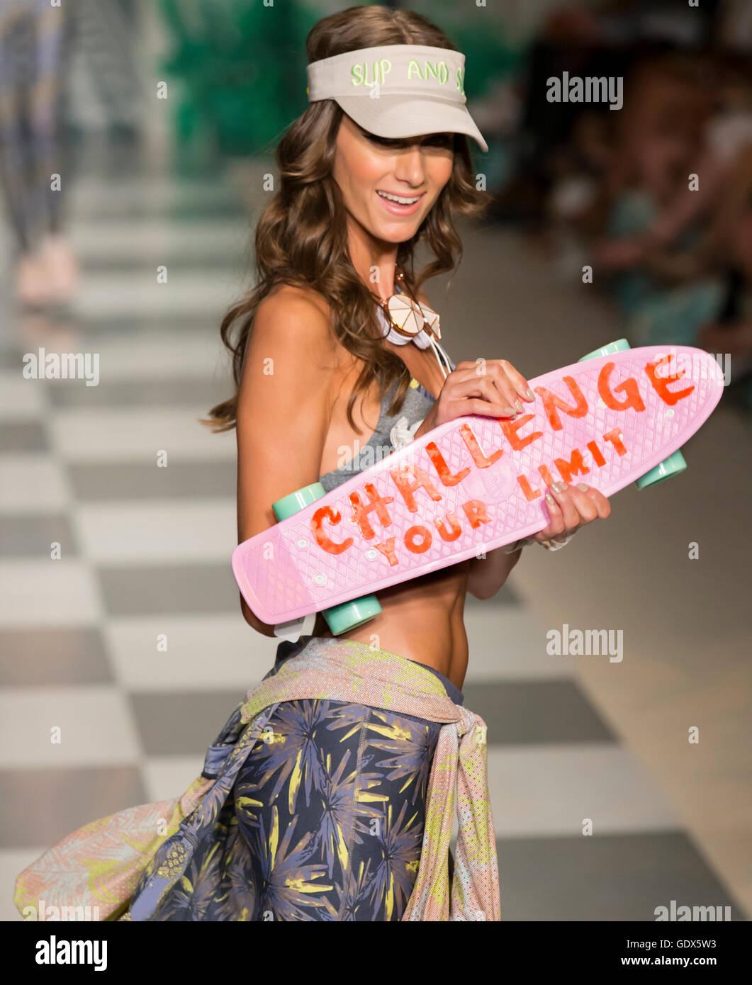 MIAMI BEACH, FL - JULY 17, 2016: A model walks the runway at the Maaji 2017 Collection At Funkshion Swim Fashion - Stock Image