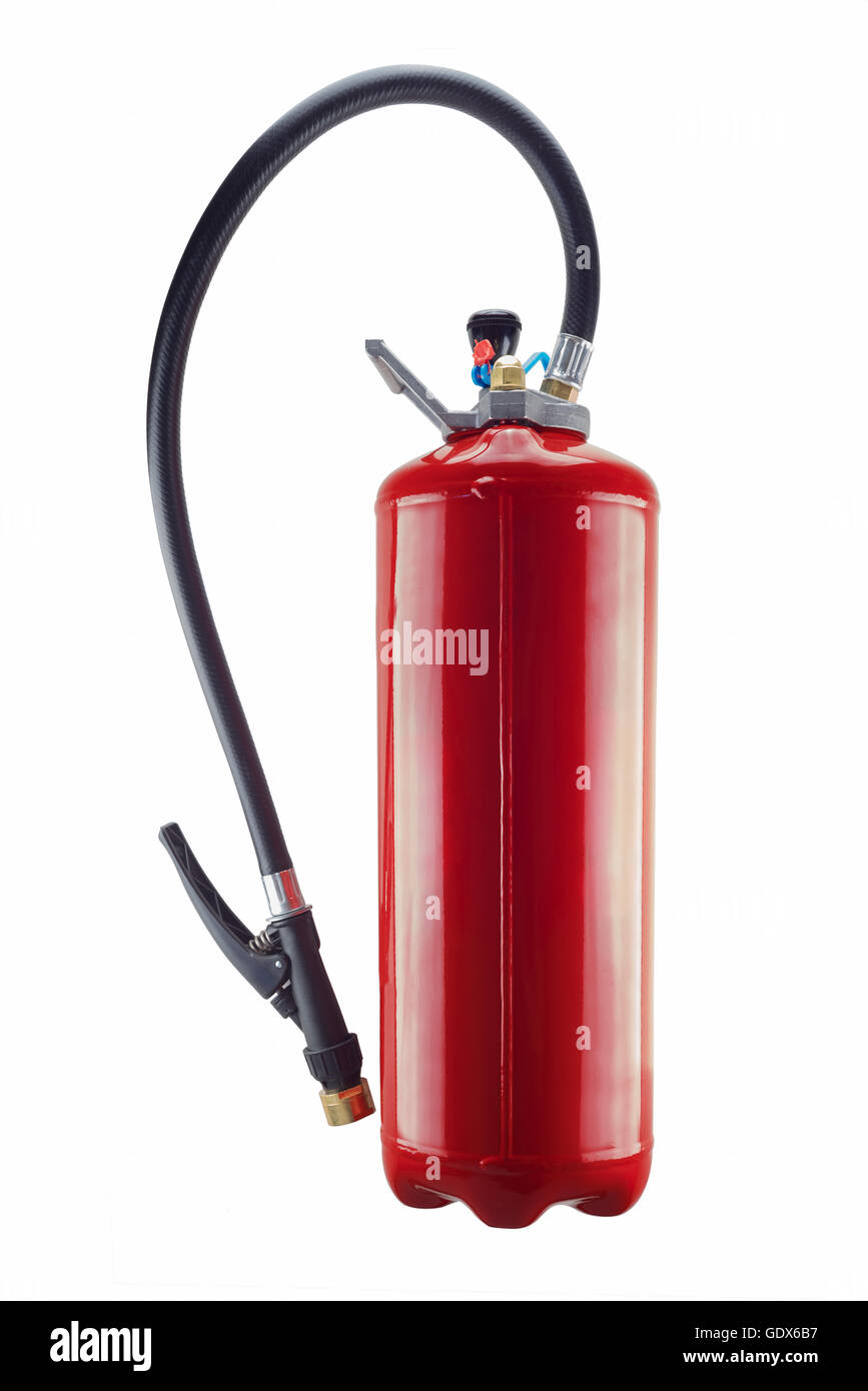 red fire extinguisher isolated  and its on white background - Stock Image