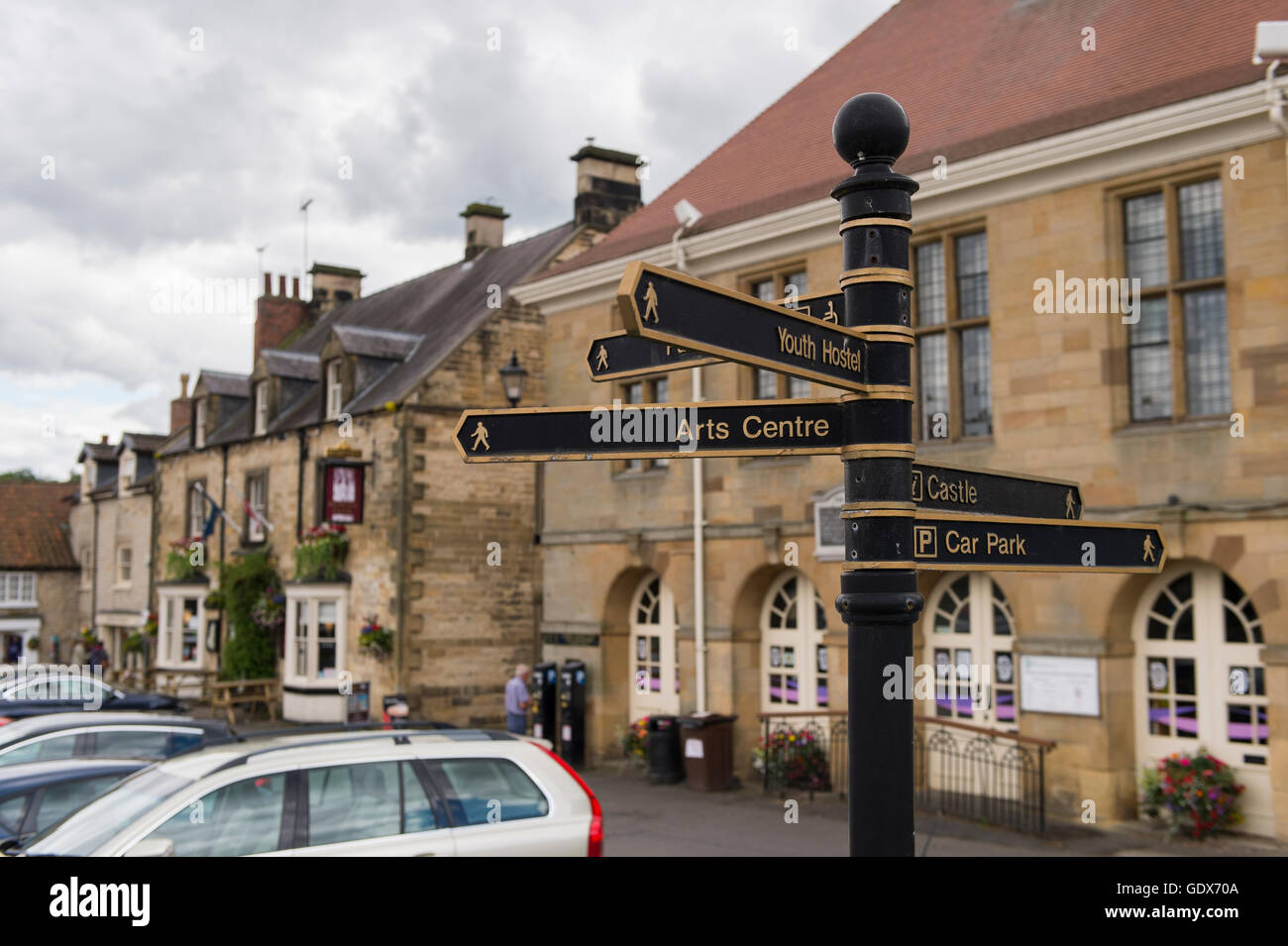 Metal cast-iron finger post guiding pedestrians sited in Helmsley's picturesque Market Square, North Yorkshire, - Stock Image