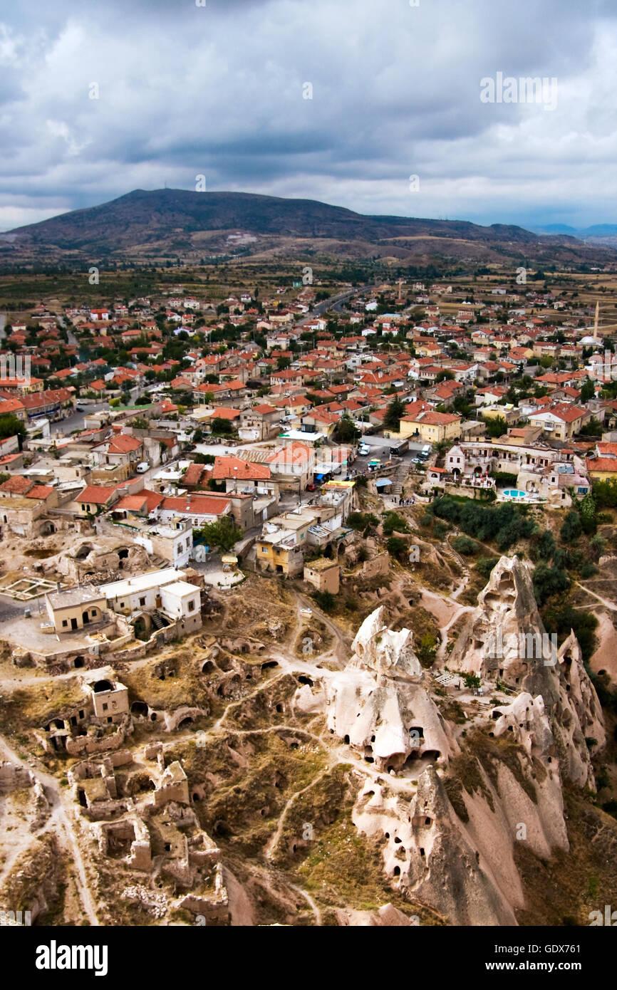 Uchisar town in Cappadocia, Turkey Stock Photo